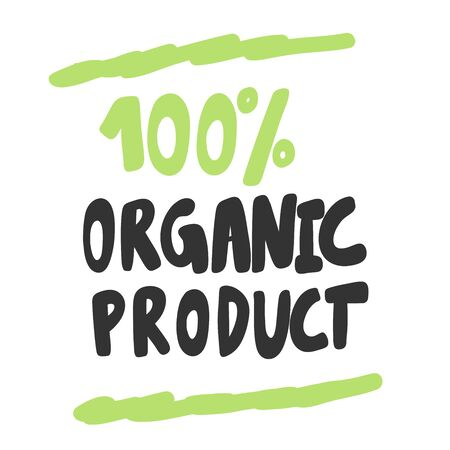 100 Organic product. Green eco bio sticker for social media content. Vector hand drawn illustration design.
