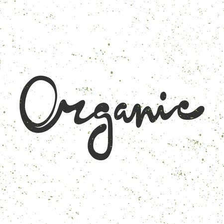 Organic. Green eco bio sticker for social media content. Vector hand drawn illustration design.