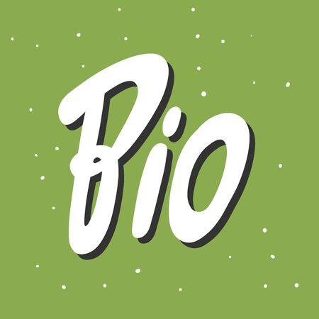 BIO Green eco sticker for social media content. Vector hand drawn illustration design.