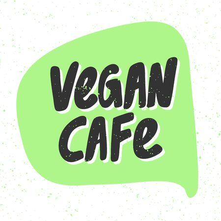 Vegan cafe. Green eco bio sticker for social media content. Vector hand drawn illustration design.