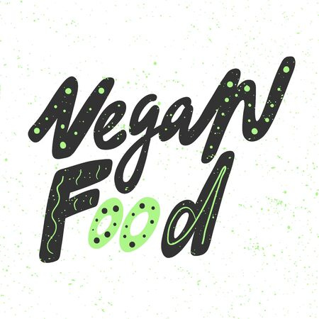 Vegan food. Green eco bio sticker for social media content. Vector hand drawn illustration design. Illustration