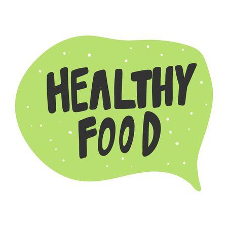 Healthy food. Green eco bio sticker for social media content. Vector hand drawn illustration design. Illustration