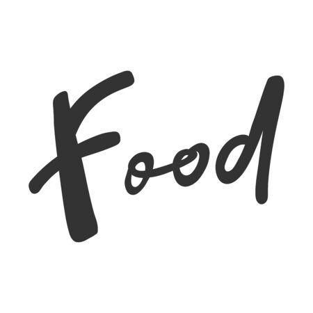 Food. Green eco bio sticker for social media content. Vector hand drawn illustration design.