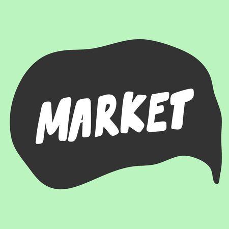 Market. Green eco bio sticker for social media content. Vector hand drawn illustration design. Illustration