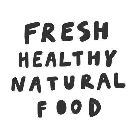 Fresh healthy natural food. Green eco bio sticker for social media content. Vector hand drawn illustration design. Illustration