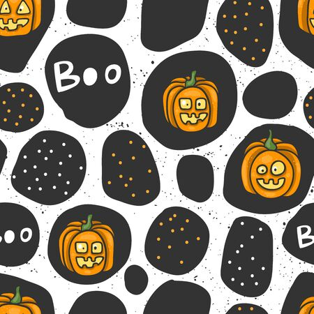 Halloween seamless pattern for social media content. Vector hand drawn illustration design.