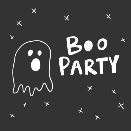 Boo party. Halloween Sticker for social media content. Vector hand drawn illustration design.
