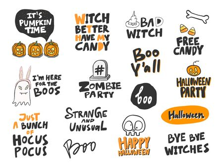 Halloween Sticker set for social media content. Vector hand drawn illustration design.  イラスト・ベクター素材