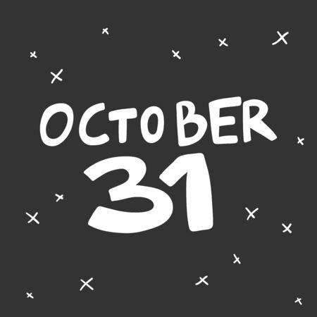 October 31. Halloween Sticker for social media content. Vector hand drawn illustration design. Foto de archivo - 133488783