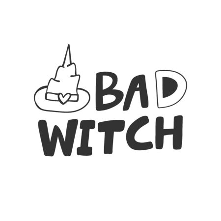 Bad witch. Halloween Sticker for social media content. Vector hand drawn illustration design.  イラスト・ベクター素材