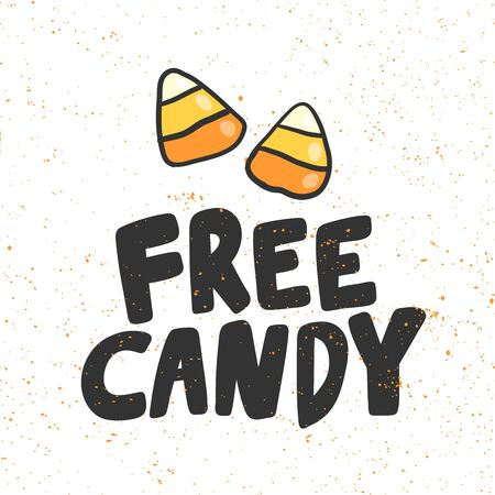 Free candy. Halloween Sticker for social media content. Vector hand drawn illustration design. Foto de archivo - 133488810