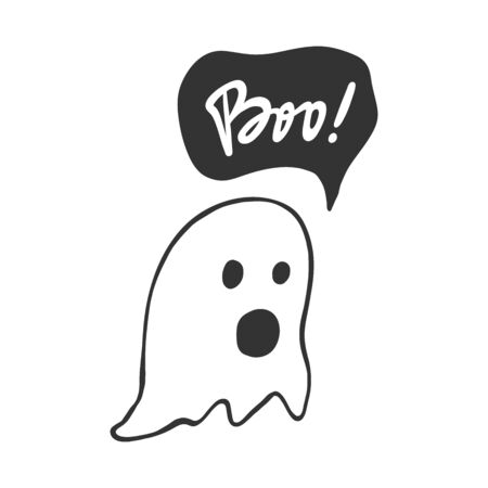 Boo. Halloween Sticker for social media content. Vector hand drawn illustration design.  イラスト・ベクター素材