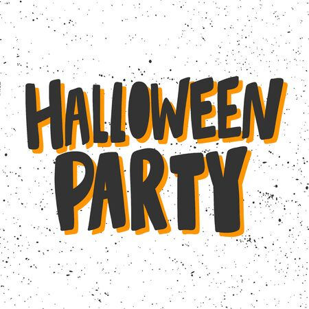 Halloween party. Sticker for social media content. Vector hand drawn illustration design.  イラスト・ベクター素材