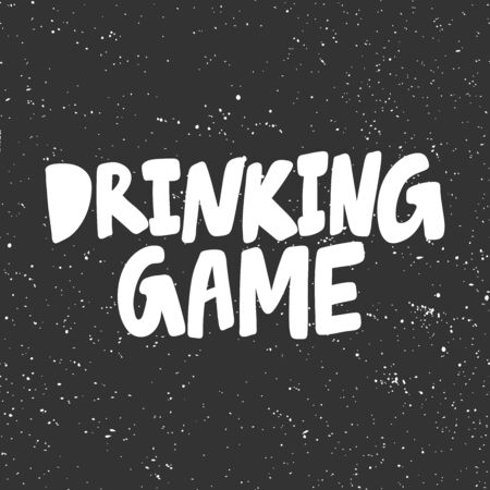 Drinking game. Halloween Sticker for social media content. Vector hand drawn illustration design.