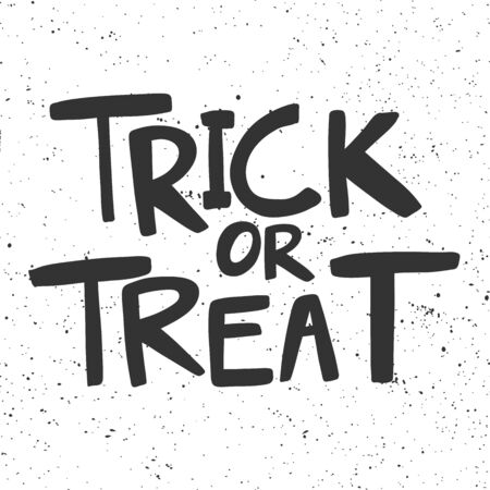 Trick or treat. Halloween Sticker for social media content. Vector hand drawn illustration design.