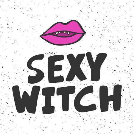 Sexy witch. Halloween Sticker for social media content. Vector hand drawn illustration design.