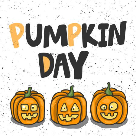 Pumpkin day. Halloween Sticker for social media content. Vector hand drawn illustration design.  イラスト・ベクター素材