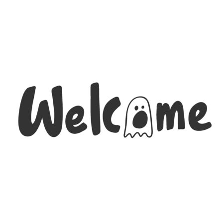 Welcome. Halloween Sticker for social media content. Vector hand drawn illustration design.