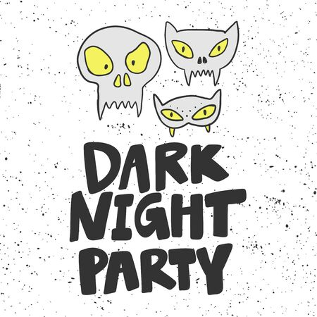 Dark night party. Halloween Sticker for social media content. Vector hand drawn illustration design.