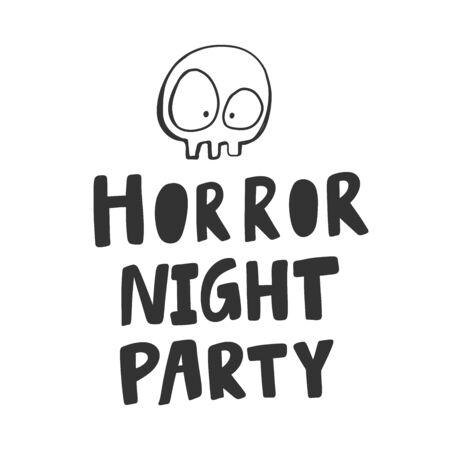Horror night party. Halloween Sticker for social media content. Vector hand drawn illustration design. Foto de archivo - 133488850