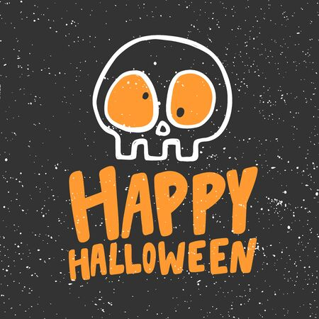 Happy Halloween Sticker for social media content. Vector hand drawn illustration design.