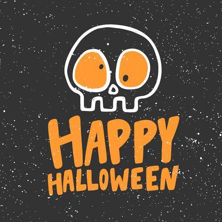 Happy Halloween Sticker for social media content. Vector hand drawn illustration design.