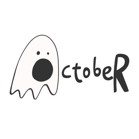 October. Halloween Sticker for social media content. Vector hand drawn illustration design.