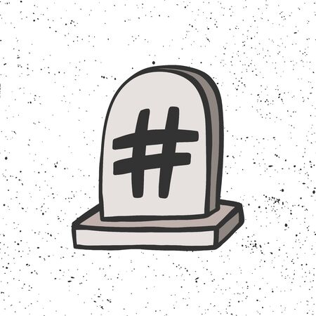 Grave stone with hashtag. Halloween Sticker for social media content. Vector hand drawn illustration design.