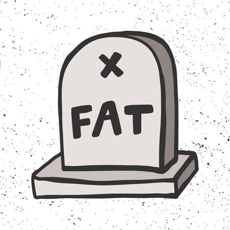 Fat grave stone. Halloween Sticker for social media content. Vector hand drawn illustration design.