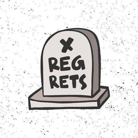 Regrets grave stone. Halloween Sticker for social media content. Vector hand drawn illustration design. Illustration