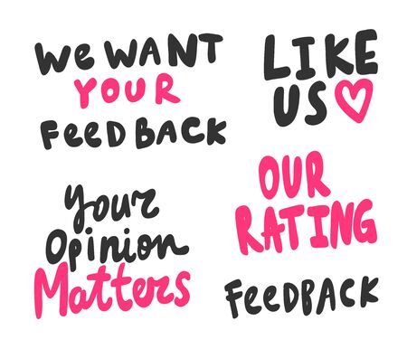 Feedback, opinion, rating, like. Sticker collection for social media content. Vector hand drawn illustration design.