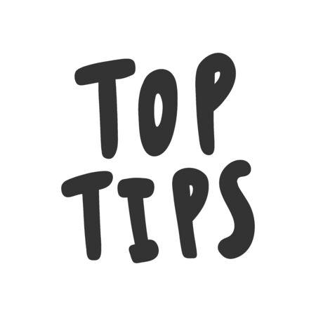 Top tips. Sticker for social media content. Vector hand drawn illustration design. 일러스트