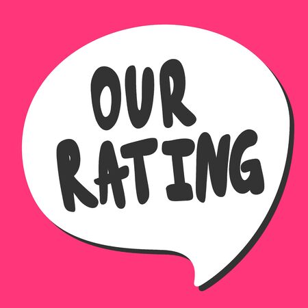 Our rating. Sticker for social media content. Vector hand drawn illustration design.