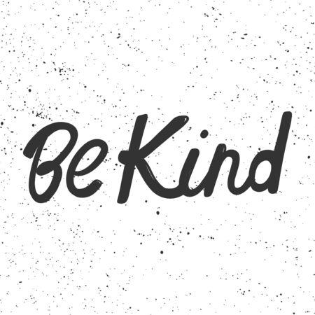Sei freundlich. Aufkleber für Social-Media-Inhalte. Vektor handgezeichnetes Illustrationsdesign.