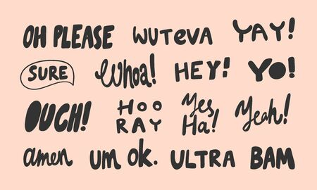 Please, ouch, hooray, bam, ultra, ok, amen. Vector hand drawn illustration sticker collection with cartoon lettering. Good as a sticker, video blog, social media message, gift cart, t shirt print.