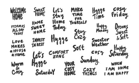 Hygge, cozy, comfort, cozy, time, sweet, soft, weekend, warm, home. Sticker collection set for social media content. Vector hand drawn illustration design. Illustration