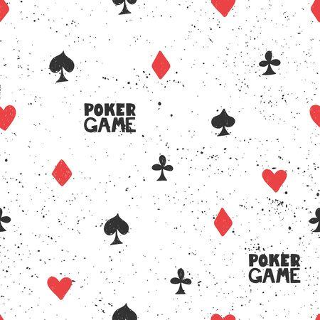 Vector seamless pattern poker cards for social media content. Vector hand drawn illustration design. Illustration
