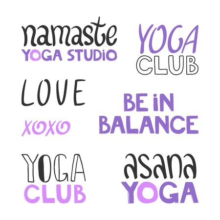 Namaste, Yogastudio, Liebe, Xoxo, Asana, Club, Balance. Stickerset-Sammlung für Social-Media-Inhalte. Vektor handgezeichnetes Illustrationsdesign. Vektorgrafik