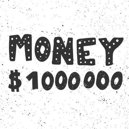 Money million dollars. Sticker for social media content. Vector hand drawn illustration design.