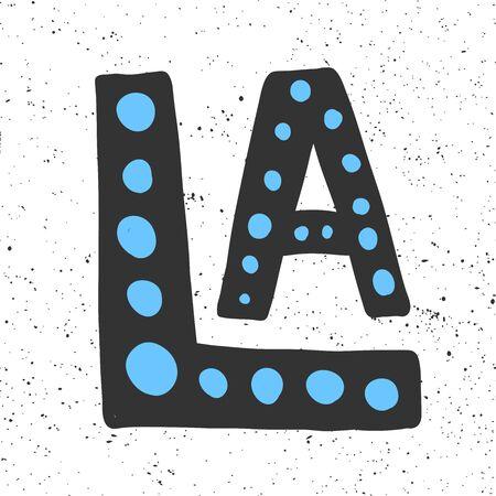 Los Angeles. Sticker for social media content. Vector hand drawn illustration design. Illustration