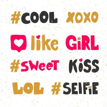 Cool, hashtag, like, girl, sweet, kiss, lol, selfie. Sticker collection set for social media content. Vector hand drawn illustration design.