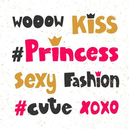 Wow, kiss, princess, sexy, fashion, cute, xoxo. Sticker for social media content. Vector hand drawn illustration design.