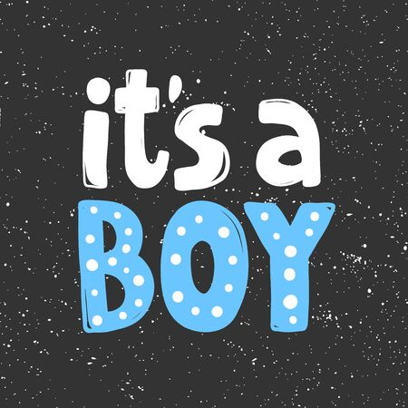It is a boy. Sticker for social media content. Vector hand drawn illustration design.