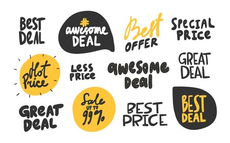 Best deal, price, sale, great, special, offer. Vector hand drawn collection sticker illustration with cartoon lettering.