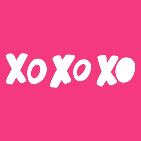 Xo xo. Valentines day Sticker for social media content about love. Vector hand drawn illustration design.