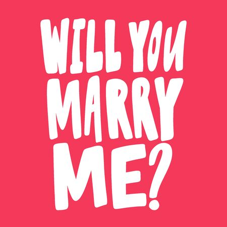 Will you marry me. Valentines day Sticker for social media content about love. Vector hand drawn illustration design.