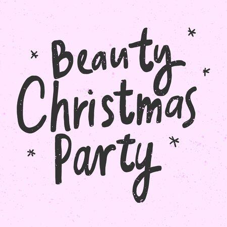 Fiesta de Navidad de belleza. Banner de ilustración de dibujado a mano de vector de Navidad y feliz año nuevo con letras cómicas de dibujos animados. Ilustración de vector