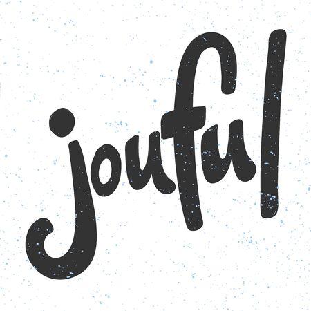Joyful. Christmas and happy New Year vector hand drawn illustration banner with cartoon comic lettering. Illusztráció