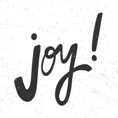 Joy. Christmas and happy New Year vector hand drawn illustration banner with cartoon comic lettering. Illusztráció