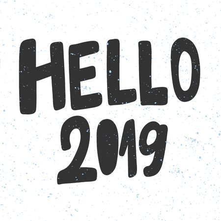 Hello 2019. Christmas and happy New Year vector hand drawn illustration banner with cartoon comic lettering.